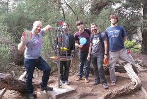 BitTorrent engineers on hole 18 of Golden Gate Disc Golf Course.