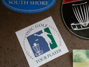 One year, the PDGA sent special stickers to renewing members. They obviously knew that most PDGA members were also tournament players/