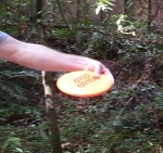 A close up of the hand and disc- note the straightening arm and the hand still in front of the disc. Photo by Sandy Trageser.