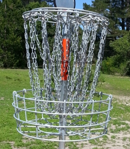 One of the newly-installed  DGA Mach X baskets at DeLaveaga Disc Golf Course in Santa Cruz, CA.