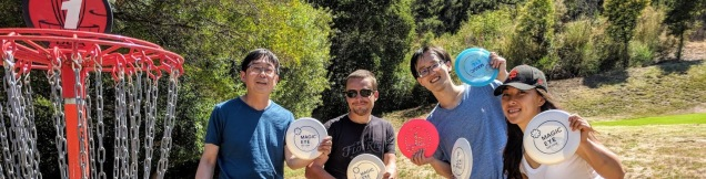 Part of the Google group showing off their custom team discs.
